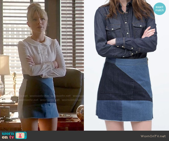 Zara Denim Patchwork Skirt worn by Kaitlin Doubleday on Empire