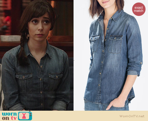 Zara Denim Shirt with Pockets worn by Cristin Milioti on A to Z