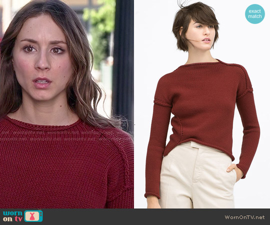 Zara Diagonal Knit Sweater worn by Troian Bellisario on PLL
