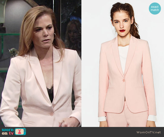 Zara Double Crepe Blazer worn by Gina Tognoni on The Young & the Restless