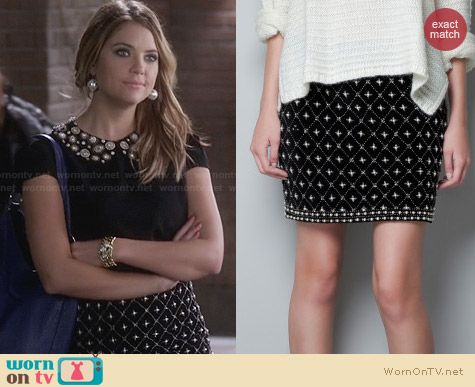 Zara Embroidered Fantasy Skirt worn by Ashley Benson on PLL