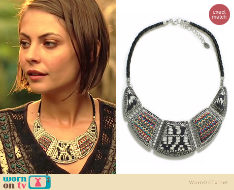 Zara Silver Plated Ethnic Applique Bib worn by Willa Holland on Arrow