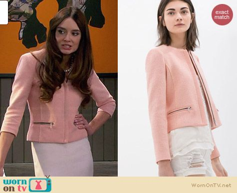 Zara Fabric Jacket with Zip worn by Mallory Jansen on Young & Hungry