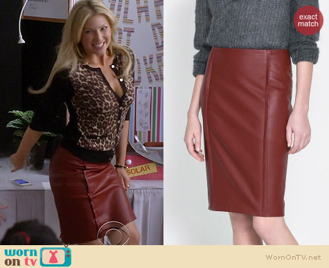 Zara Faux Leather Skirt in Maroon worn by Ari Graynor on Bad Teacher