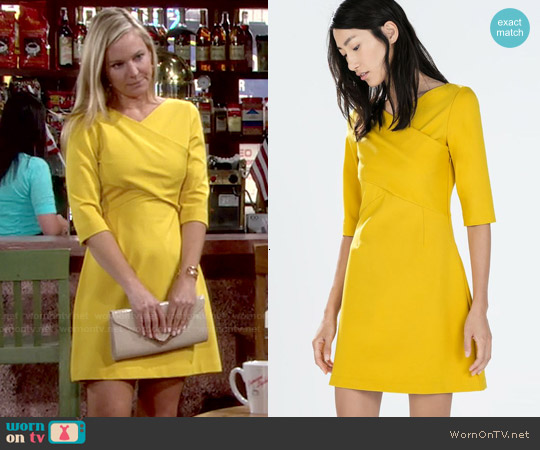 Zara Fitted Dress with Crossover Neckline worn by Sharon Case on The Young & the Restless