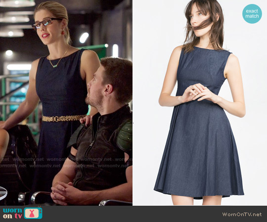 Zara Flared Denim Dress worn by Emily Bett Rickards on Arrow