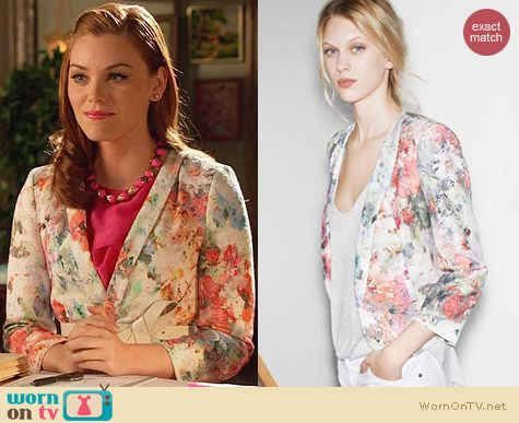 Zara Floral Blazer worn by Kaitlyn Black on Hart of Dixie