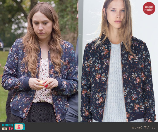 Zara Floral Bomber Jacket worn by Sarah Sutherland on Veep