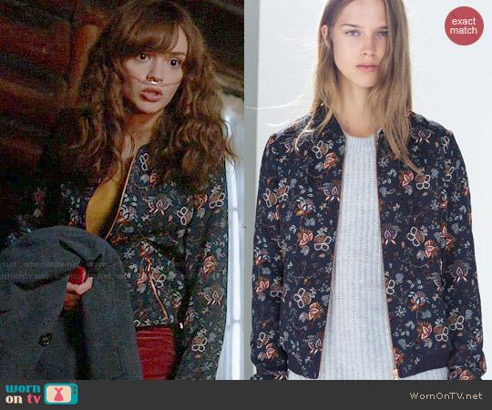 Zara Floral Bomber Jacket worn by Olivia Cooke on Bates Motel