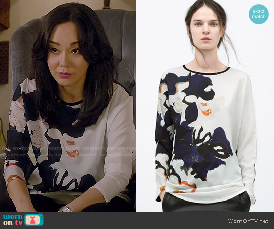 Zara Floral Printed T-shirt worn by Yunjin Kim on Mistresses