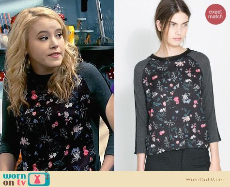 Zara Floral Wool Tshirt worn by Taylor Sprietler on Melissa & Joey