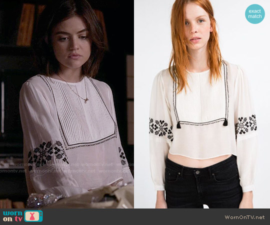 Zara Flowing Shirt with Bib Front Embroidery worn by Lucy Hale on PLL
