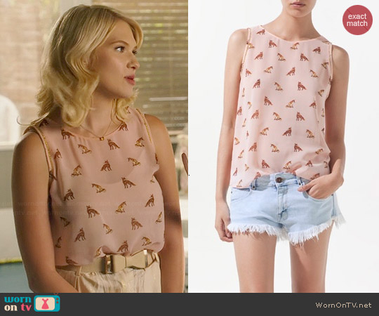 Zara Fox Print Blouse worn by Magnolia Breeland on Hart of Dixie