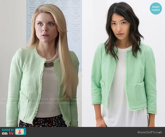 Zara Mint Frayed Structured Jacket worn by Bailey Buntain on Faking It
