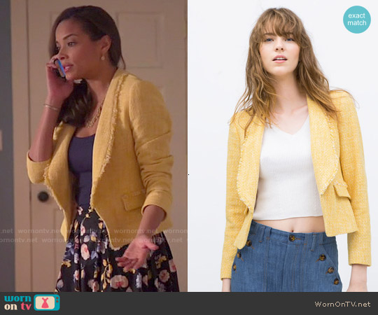 Zara Frayed Short Blazer worn by Rochelle Aytes on Mistresses