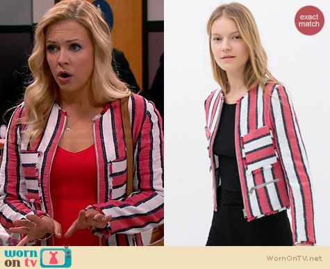 Zara Frayed Striped Jacket worn by Melissa Joan Hart on Melissa & Joey