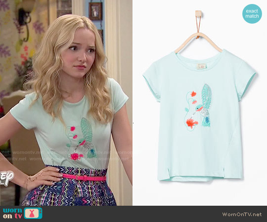 Zara Girls Shiny Hummingbird T-shirt worn by Dove Cameron on Liv & Maddie