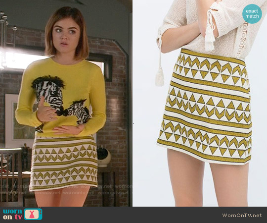 Zara Jacquard Skirt worn by Aria Montgomery on PLL