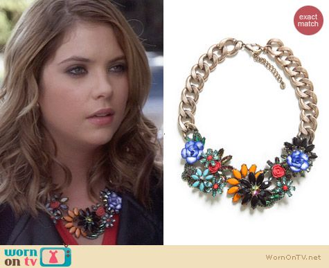 Zara Jewelled Flowers Necklace worn by Ashley Benson on PLL