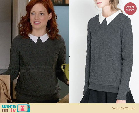 Zara Knitted Sweater with Peter Pan Collar worn by Jane Levy on Suburgatory