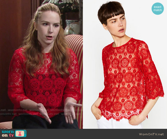Zara Red Lace Top worn by Camryn Grimes on The Young & the Restless