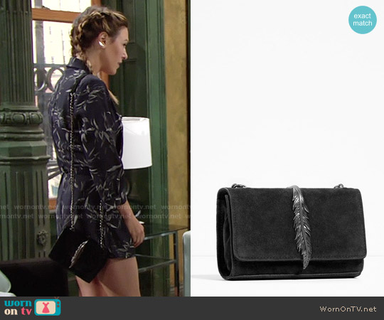 Zara Leather Cross Body Bag with Metal Detail worn by Chloe Mitchell on The Young & the Restless