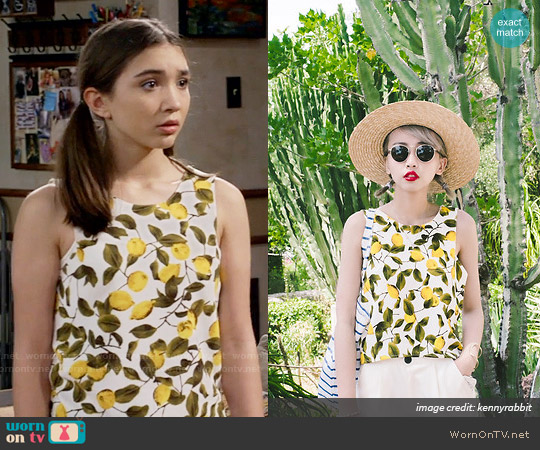 Zara Lemon Print Top worn by Rowan Blanchard on Girl Meets World