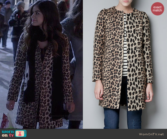 Zara Leopard Print Coat worn by Lucy Hale on PLL