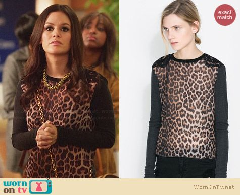 Zara Leopard Print T-Shirt worn by Rachel Bilson on Hart of Dixie