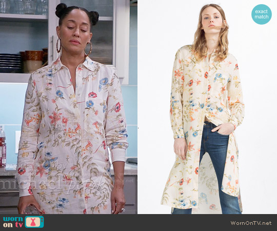 Zara Long Asymmetric Shirt worn by Tracee Ellis Ross on Blackish