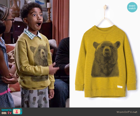 Zara Boys Long Bear Sweatshirt worn by Miles Brown on Blackish