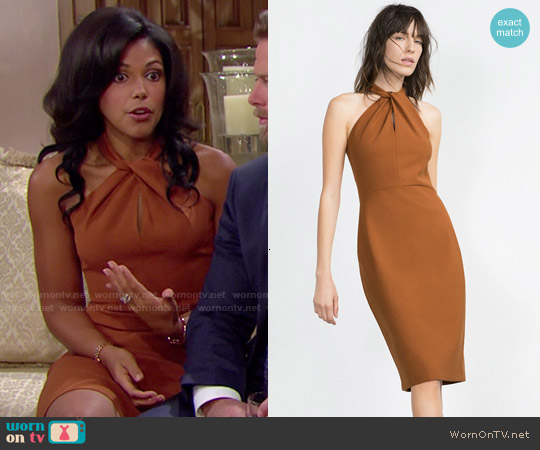 Zara Long Tube Dress worn by Karla Mosley on The Bold & the Beautiful