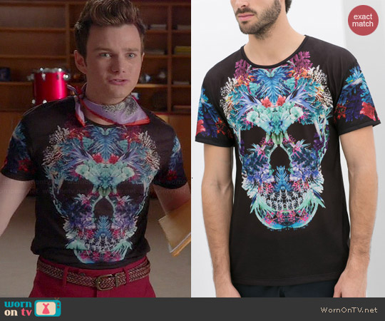 Zara Man Skull T-shirt with Flowers worn by Chris Colfer on Glee