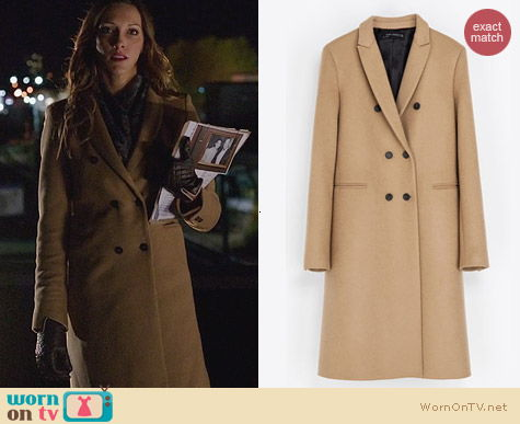 Zara Masculine Double Breasted Coat worn by Katie Cassidy on Arrow