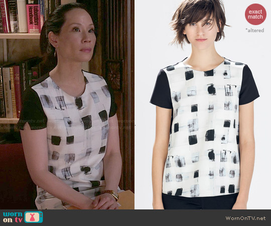 Zara Mixed Fabric Top worn by Lucy Liu on Elementary
