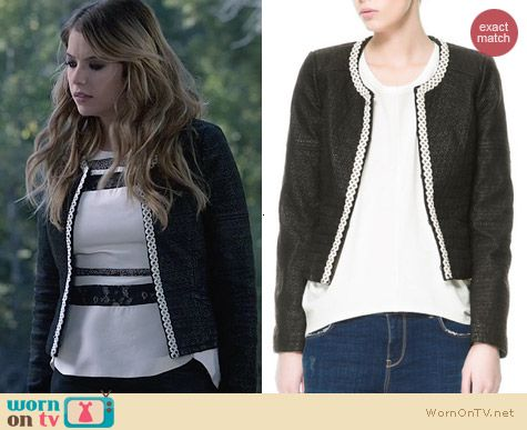 Zara Multileather jacket worn by Ashley Benson on Ravenswood