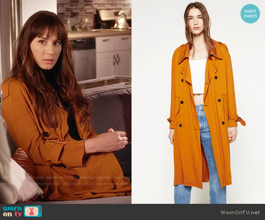 Zara Trench Coat with Horn Button worn by Troian Bellisario on PLL