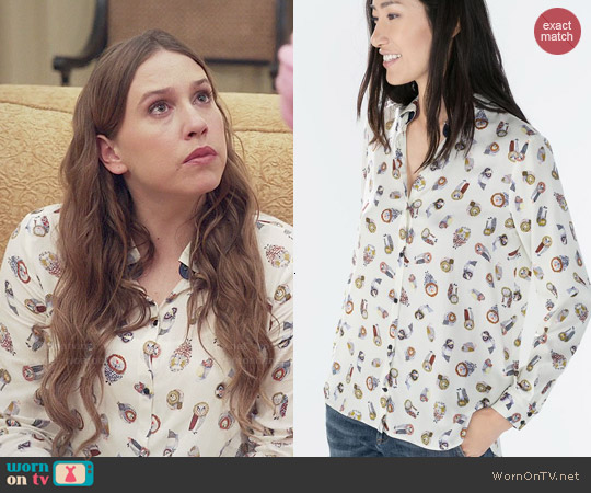Zara Owl Printed Blouse worn by Sarah Sutherland on Veep