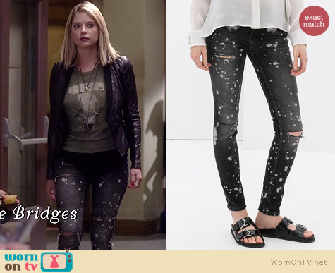 Zara Jeans with Painted Spots and Rips worn by Ashley Benson on PLL