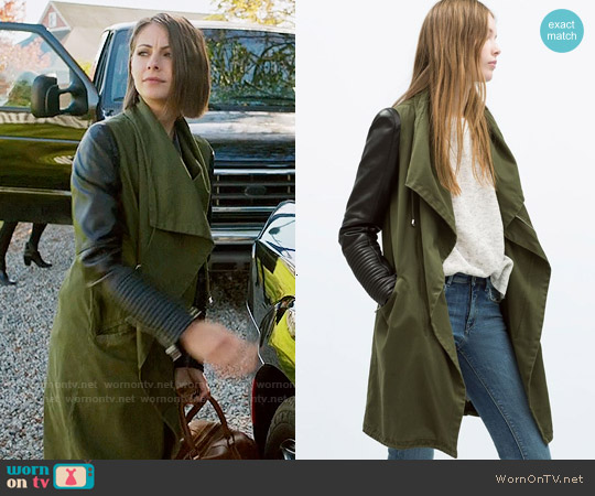 Zara Parka with Leather Sleeves worn by Willa Holland on Arrow