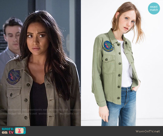 Zara Patch Overshirt worn by Shay Mitchell on PLL