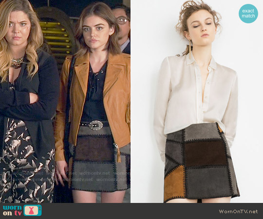 Zara Patchwork Leather Mini Skirt worn by Aria Montgomery on PLL