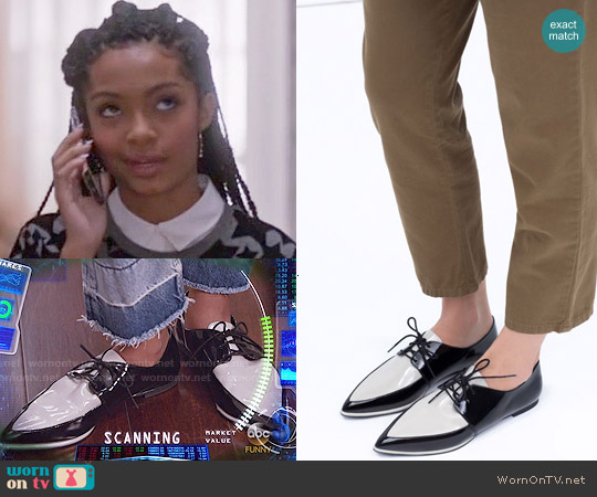 Zara Patent Toe Bulchers worn by Zoey Johnson on Blackish