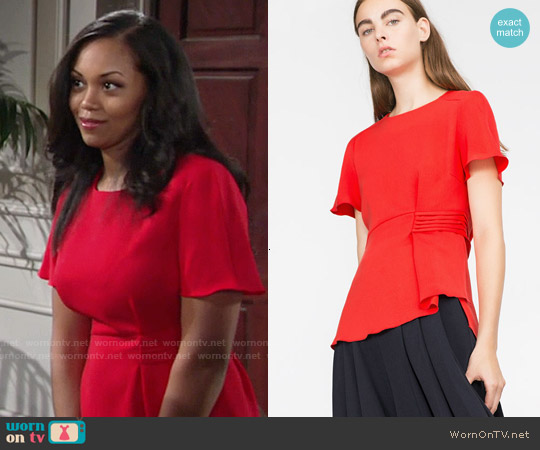 Zara Red Peplum Blouse worn by Mishael Morgan on The Young & the Restless