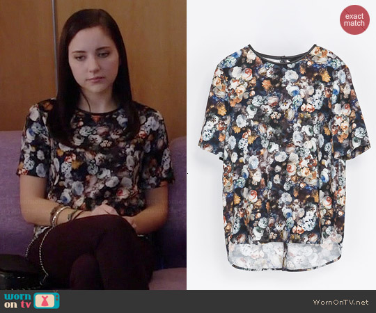 Zara Piped Printed Top worn by Haley Ramm on Chasing Life