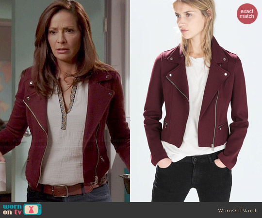 Zara Plush Biker Jacket worn by Constance Marie on Switched at Birth