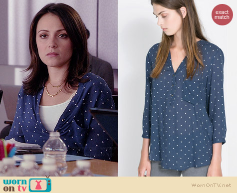 Zara Polka Dot Printed Blouse worn by Italia Ricci on Chasing Life