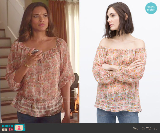 Zara Printed Blouse worn by Yunjin Kim on Mistresses