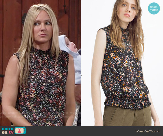 Zara Printed Blouse worn by Sharon Case on The Young & the Restless