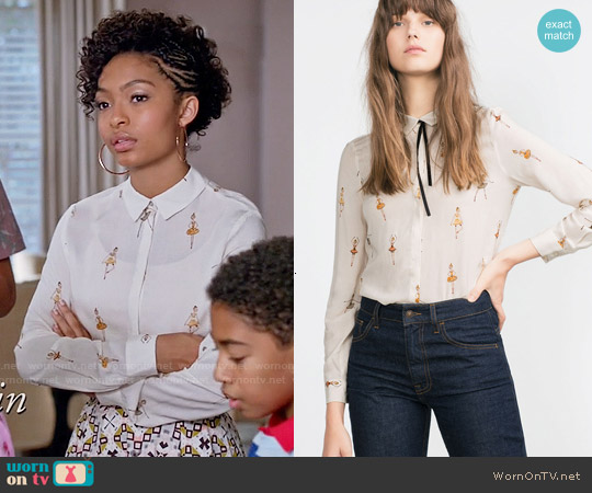 Zara Printed Blouse worn by Yara Shahidi on Blackish